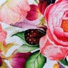 Teplákovina potisk barevné květy růží s listy na bílé