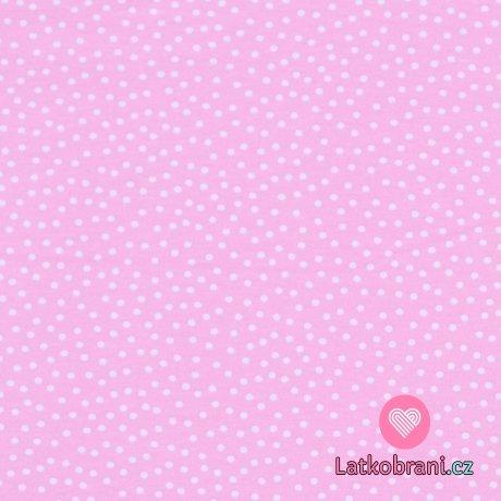 Bavlněný úplet puntíky na růžové