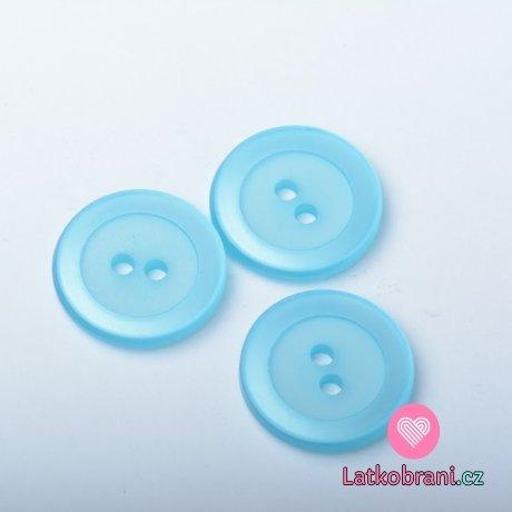 Knoflík kulatý, perleťový, modrý - velký