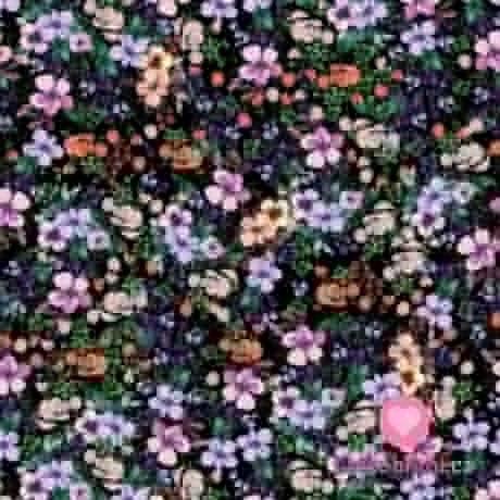 Viskozový úplet s barevnými květinami na černé