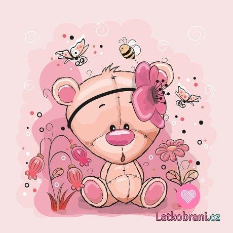 Panel medvídě růžové s květinách na růžové