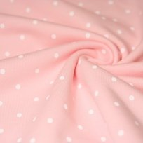 Teplákovina bílé puntíky na růžovo-pudrové