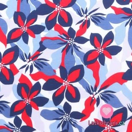 Bavlněný úplet velké červeno-modré květy na bílé