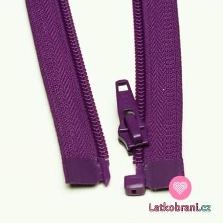 Zip spirálový dělitelný fialový 60cm