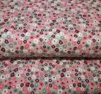 Úplet kytičky růžové malé na šedé