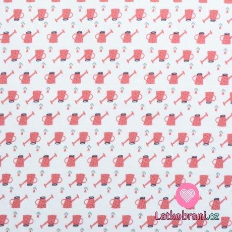 Úplet potisk růžové konvičky na bílé