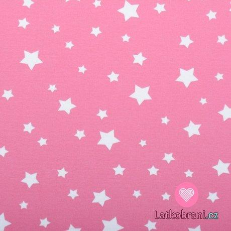 Bavlněný úplet bílé hvězdičky na růžové