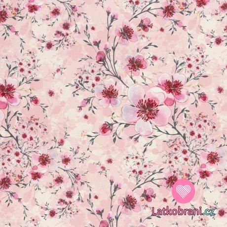 Softshell potisk jabloňový květ na růžové