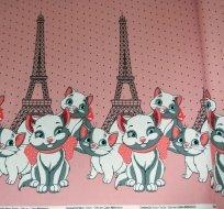 Úplet bordura kočička na růžové s Eiffelovkou