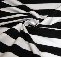 Teplákovina proužky stejně široké černé a bílé ZBYTEK