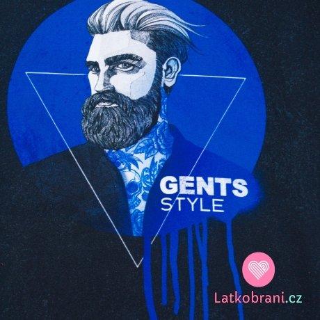 Teplákovina panel vousatý Džentlmen v kruhu na modré