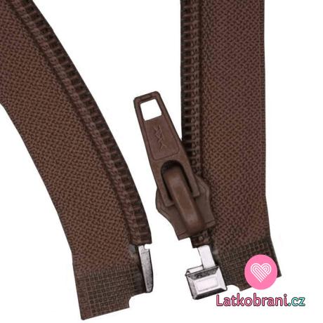 Zip spirálový dělitelný hnědý 40cm