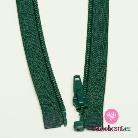 Zip spirálový dělitelný lesní zelená 70cm